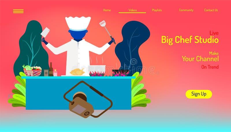 Molde de aterrissagem do Web site da página estúdio grande vivo do cozinheiro chefe faça cozinhando em seus canais na moda fundo  ilustração do vetor