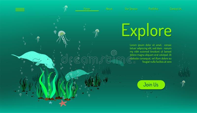 Molde de aterrissagem do Web site da página explore a vida do oceano Hora de viajar fundo verde do tom Ilustra??o EPS10 do vetor ilustração royalty free