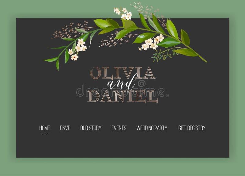 Molde de aterrissagem floral da página da loja do Internet do salão de beleza do casamento Web site do página da web da bandeira  ilustração do vetor