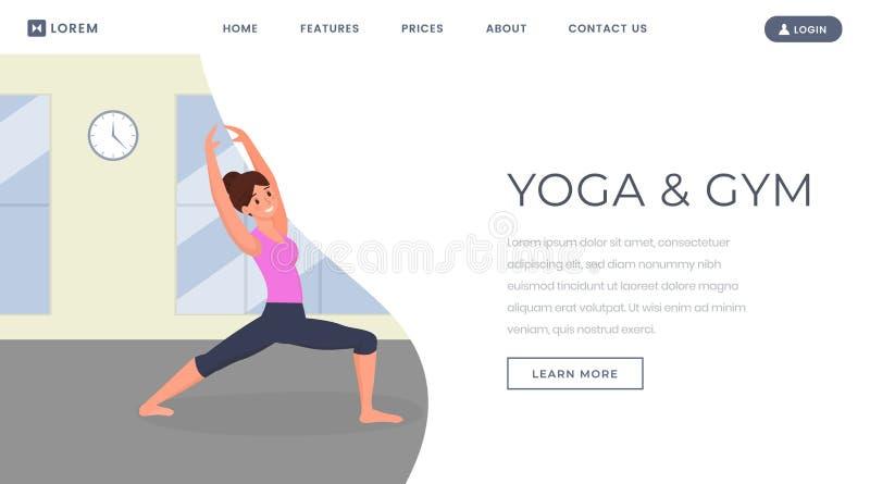 Molde de aterrissagem liso do vetor da página da ioga Instrutor da aptidão que mantém o ajuste, Web site do corpo do treinamento, ilustração stock
