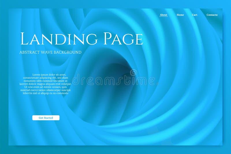 Molde de aterrissagem minimalistic azul da página Elemento do projeto do vetor ilustração do vetor