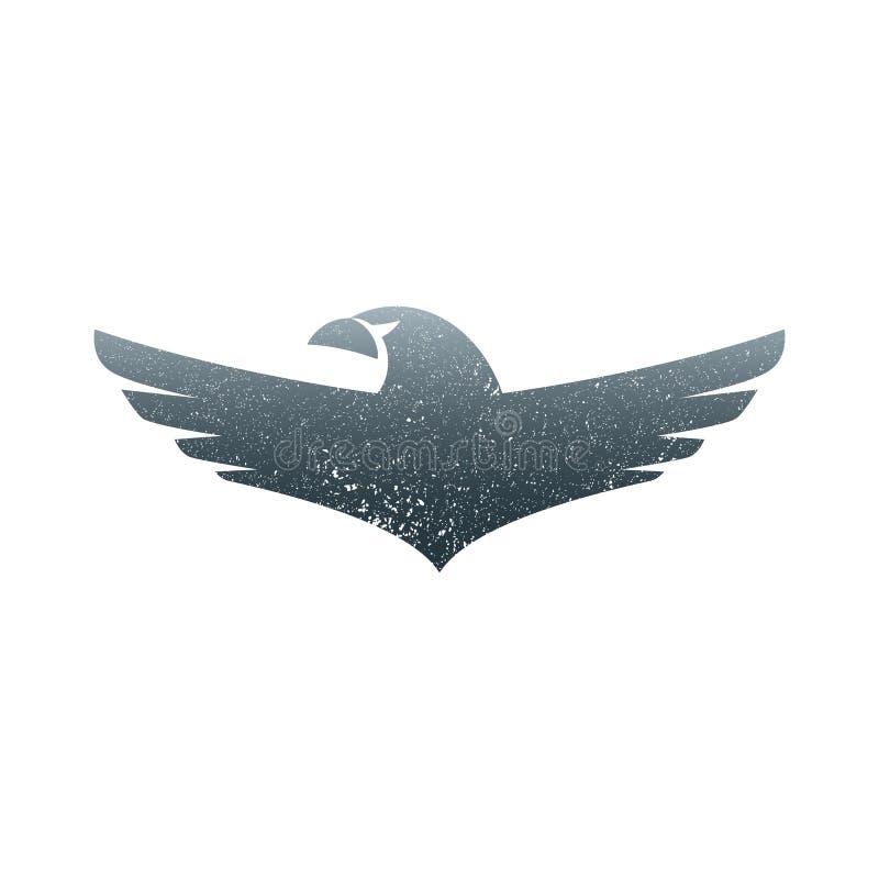 Molde de aumentação subindo do vetor do projeto do logotipo das asas de Eagle Pássaro heráldico incorporado luxuoso do falcão de  ilustração do vetor