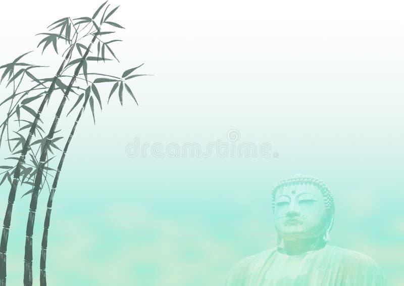Molde de bambu da paisagem de Buddha ilustração do vetor