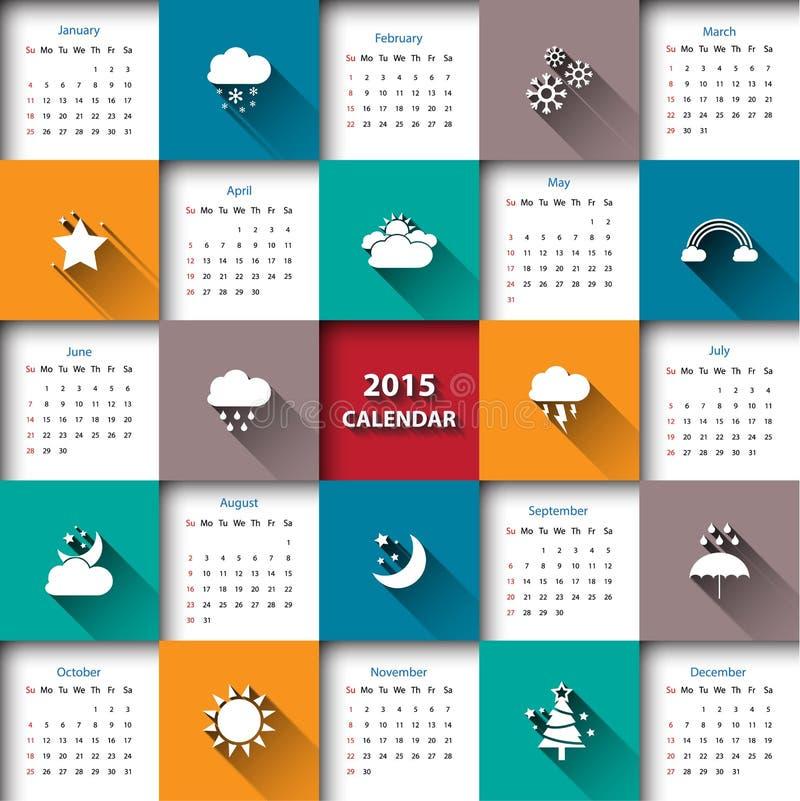 molde de 2015 calendários com ícone do tempo vetor/ilustração ilustração stock