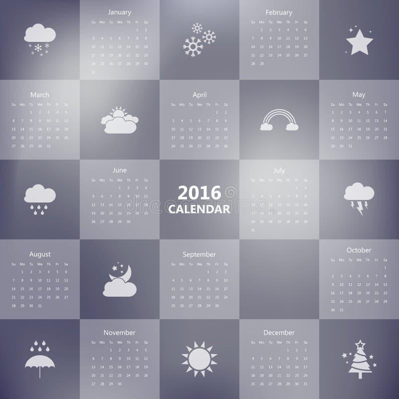 molde de 2016 calendários com ícone do tempo vetor/ilustração ilustração stock