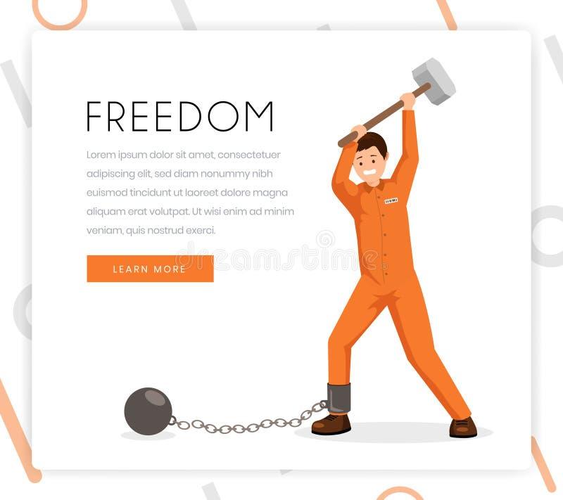 Molde de combate da página da aterrissagem da cor do vetor da escravidão Prisioneiro, condenado no uniforme que quebra grilhões c ilustração do vetor