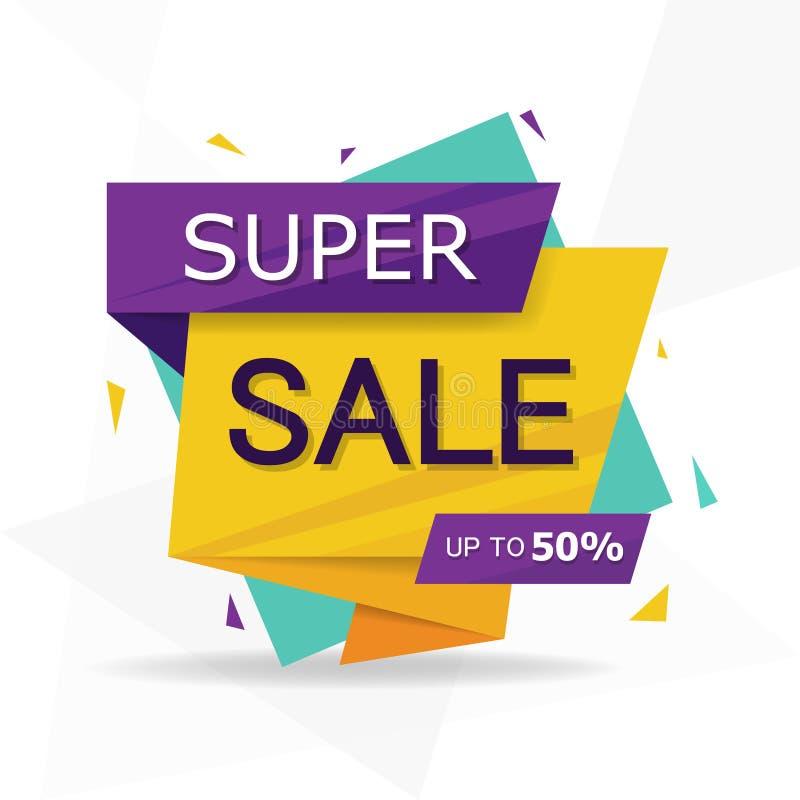 Molde de compra colorido do folheto do cartaz do inseto da venda, elementos da venda do desconto ilustração stock
