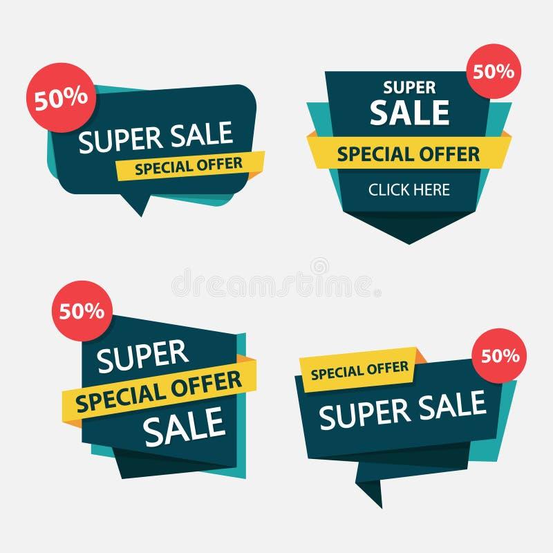 Molde de compra colorido do folheto do cartaz do inseto da venda, elementos da venda do desconto para anunciar ilustração royalty free