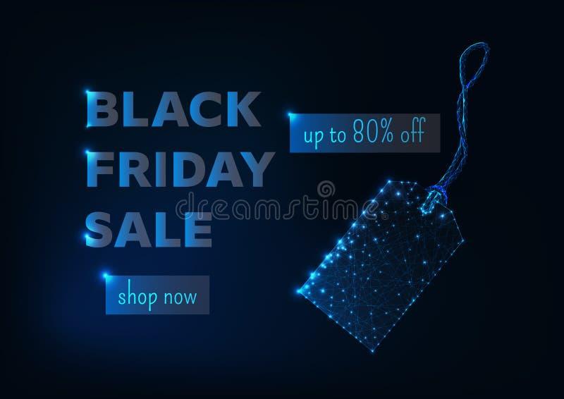 Molde de compra em linha da bandeira da venda preta de sexta-feira com a baixa etiqueta poli de incandescência, o desconto do pre ilustração stock