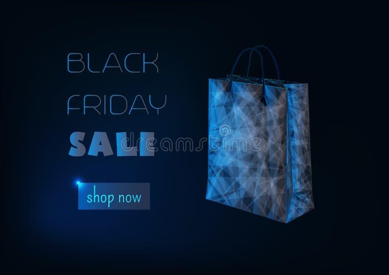 Molde de compra em linha da bandeira da venda preta de sexta-feira com o baixos saco de compras, texto do promo e loja de papel p ilustração stock