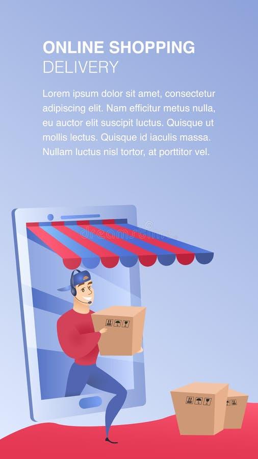Molde de compra em linha do elemento do Web site da entrega ilustração royalty free
