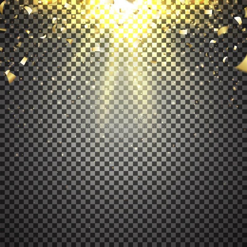 Molde de confetes dourados ilustração do vetor