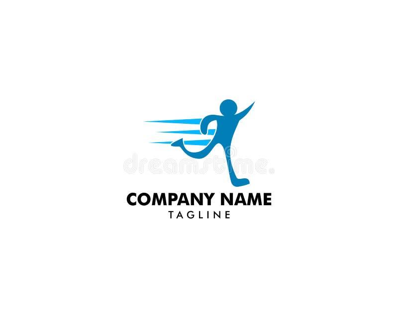 Molde de corrida do vetor do projeto do logotipo da aptidão do esporte da entrega do sumário do homem ilustração stock