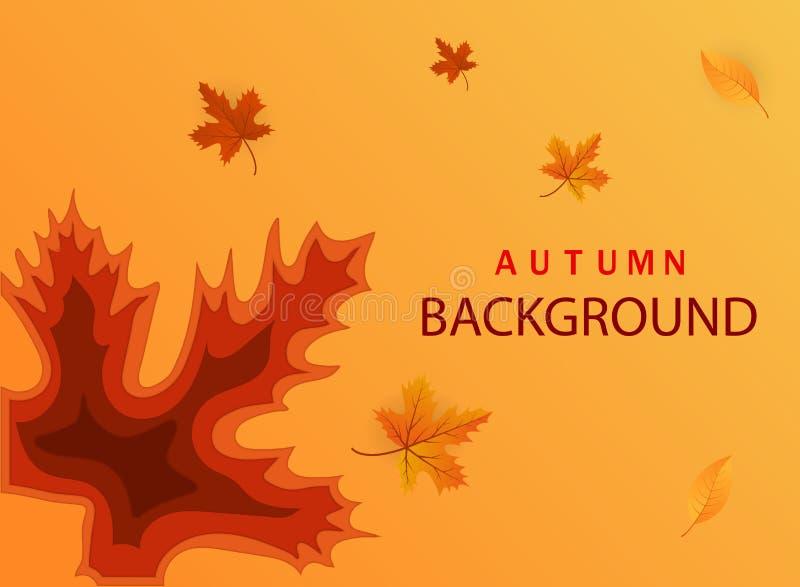 Molde de corte abstrato do papel do outono Bandeira moderna com formas abstratas do corte do fundo 3D e do papel das folhas Vetor ilustração do vetor