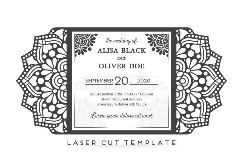 Molde de corte do laser do cartão de casamento do vetor ilustração do vetor
