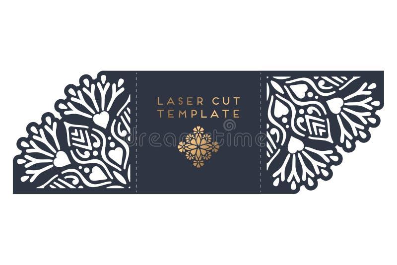 Molde de corte do laser do cartão de casamento do vetor ilustração stock