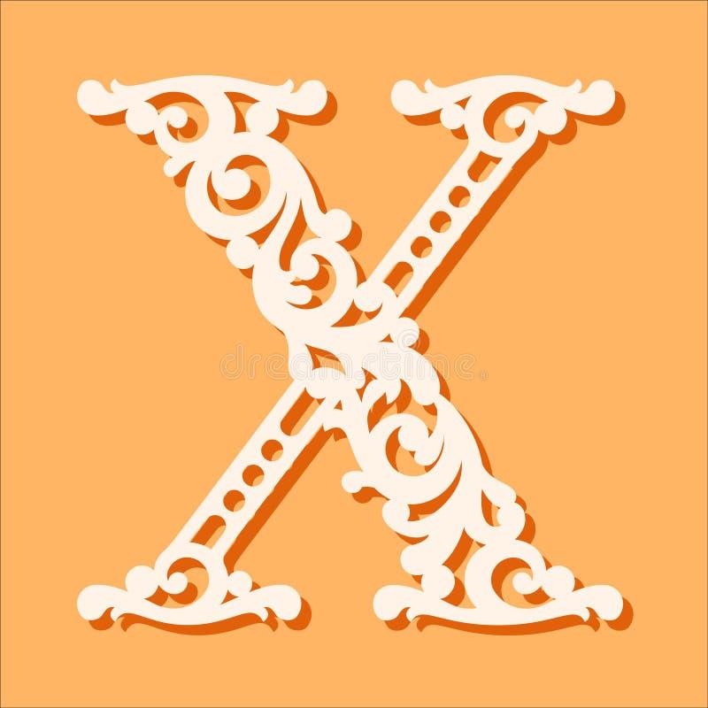 Molde de corte do laser Letras iniciais do monograma Letra floral extravagante do alfabeto ilustração royalty free