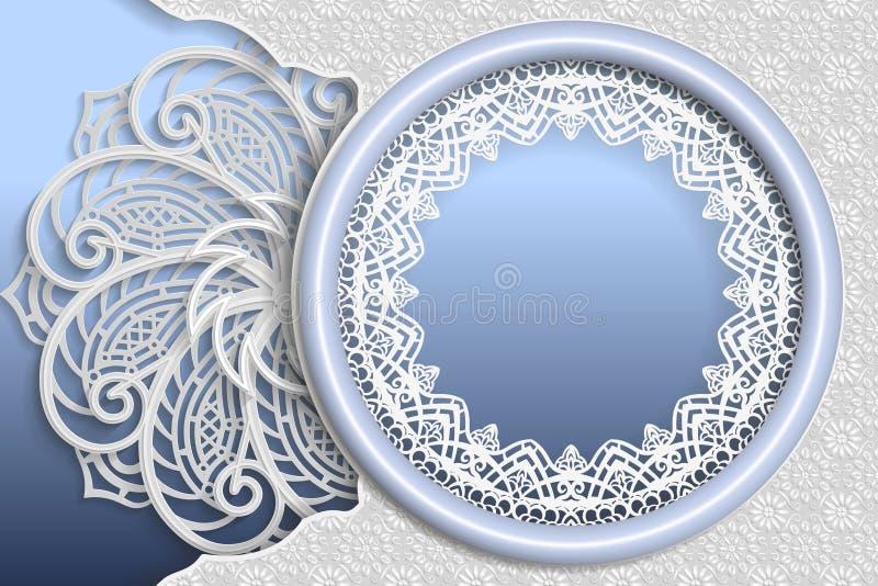 Molde de cumprimentos ou de convites do casamento 3D mandala, quadro redondo com bordas do laço, superfície com um teste padrão d ilustração royalty free