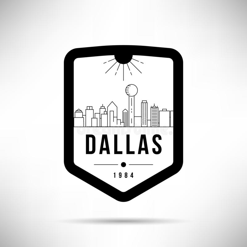 Molde de Dallas City Modern Skyline Vetora ilustração stock