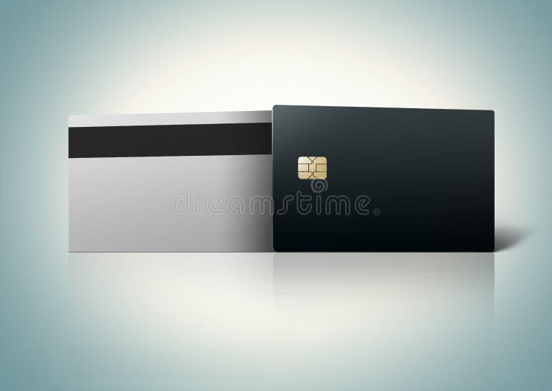 Molde de dois cartões de banco vazios imagens de stock royalty free
