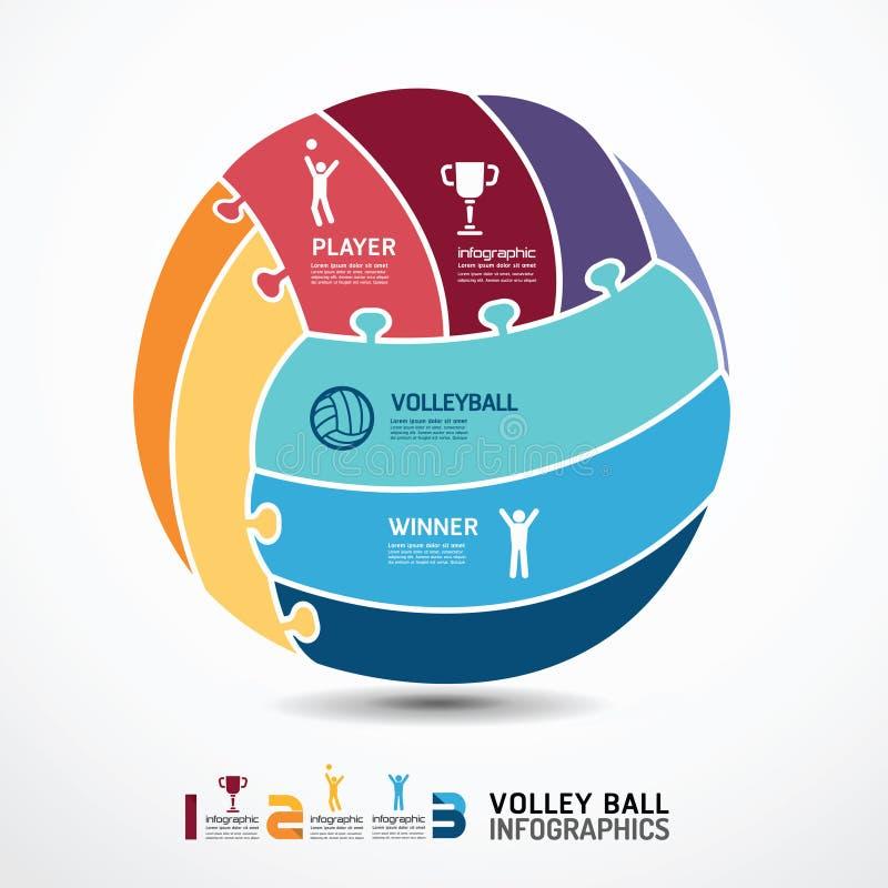 Molde de Infographic com a bandeira da serra de vaivém do voleibol ilustração royalty free