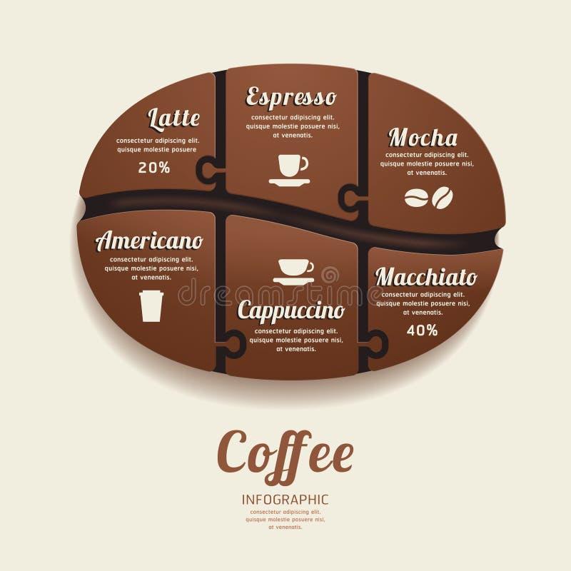Molde de Infographic com a bandeira de Bean Jigsaw do café. conceito. ilustração royalty free