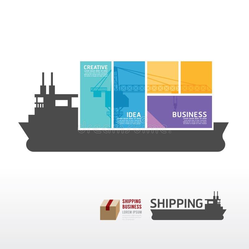 Molde de Infographic com a bandeira do barco do transporte vetor do conceito ilustração royalty free