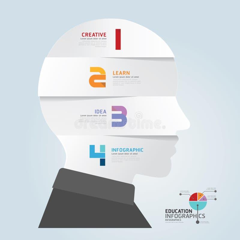 Molde de Infographic com a bandeira principal do corte do papel. vetor do conceito ilustração do vetor