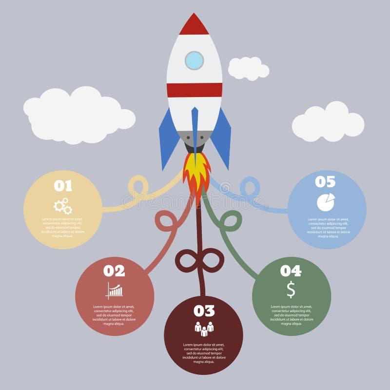Molde de Infographic com círculos coloridos e foguete no cinza ilustração do vetor