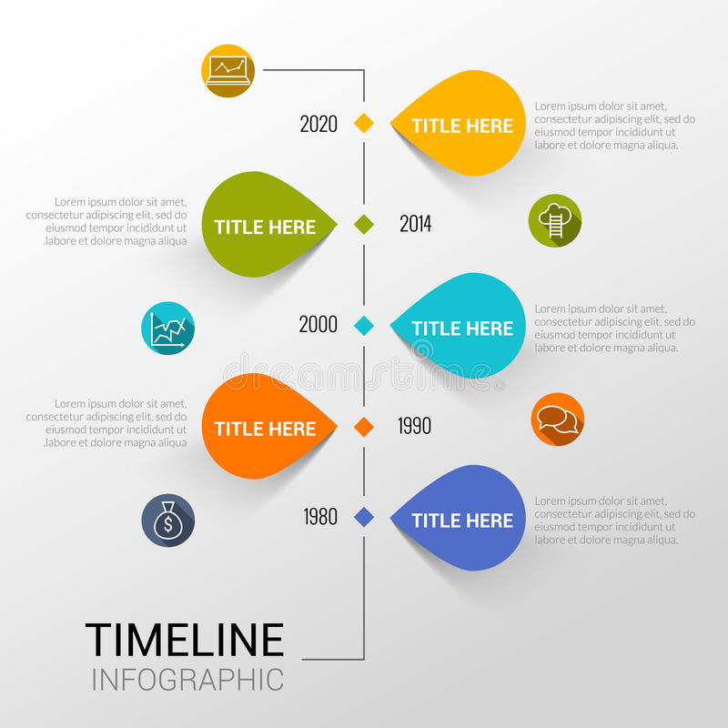 Molde de Infographic com linha de tempo relatório, pontos e ícones ilustração do vetor