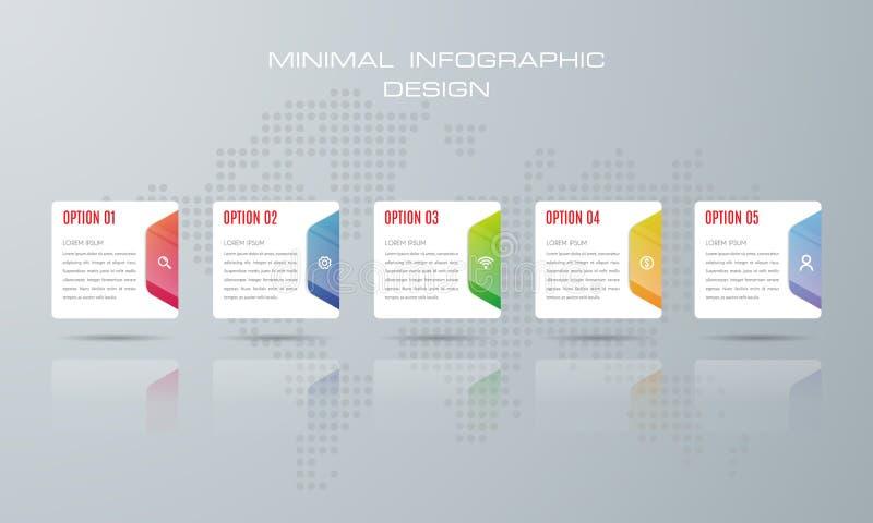 Molde de Infographic com 6 opções, ilustração stock