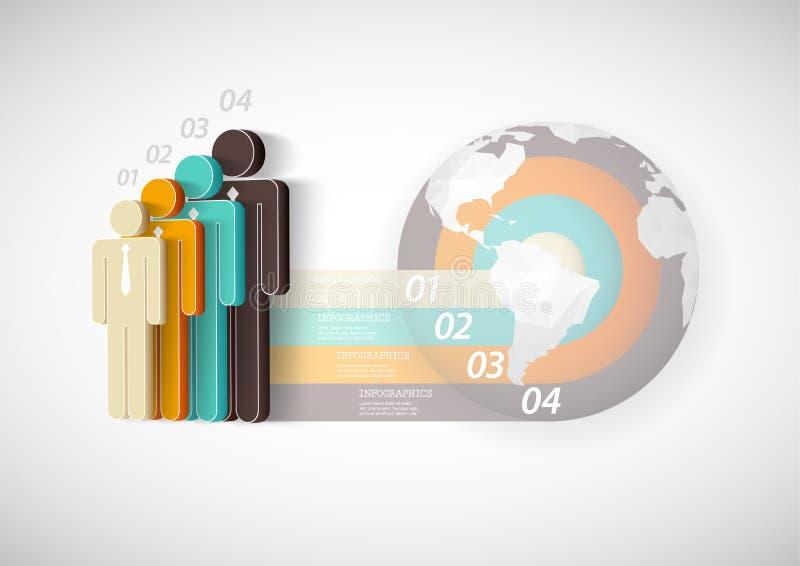Molde de Infographic com quatro povos, listras ilustração stock