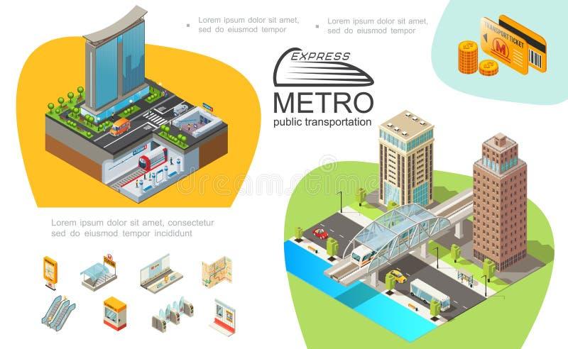 Molde de Infographic do transporte público do metro ilustração do vetor