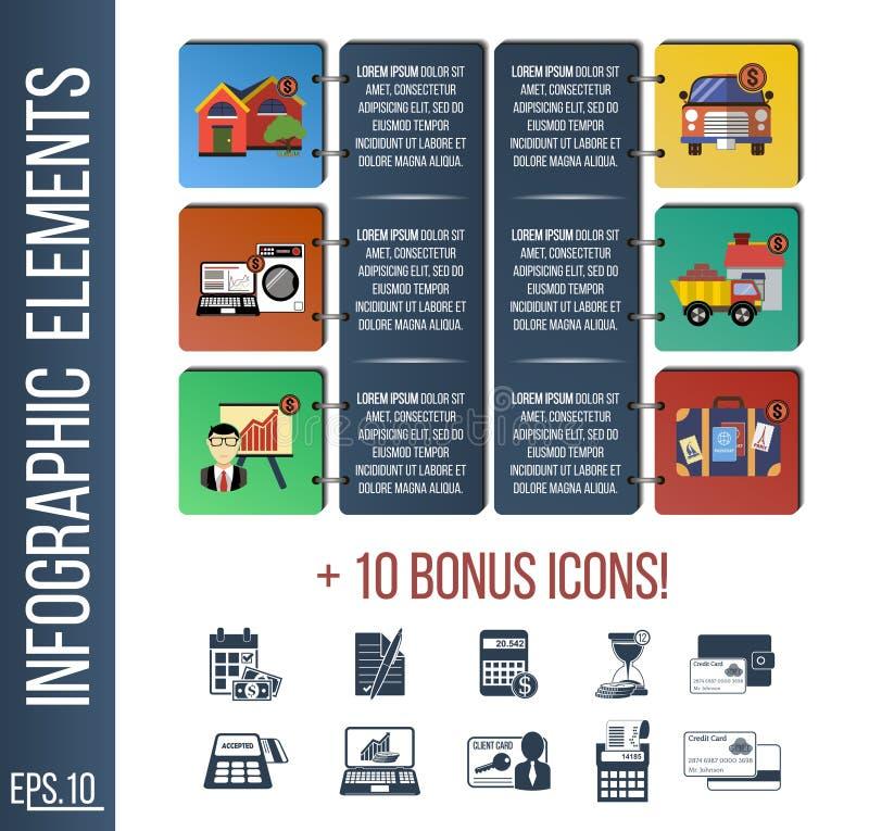 Molde de Infographic ou bandeira passo a passo do local com ícones integrados ilustração royalty free