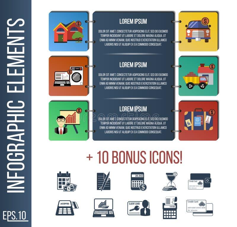 Molde de Infographic ou bandeira passo a passo do local com ícones integrados ilustração do vetor