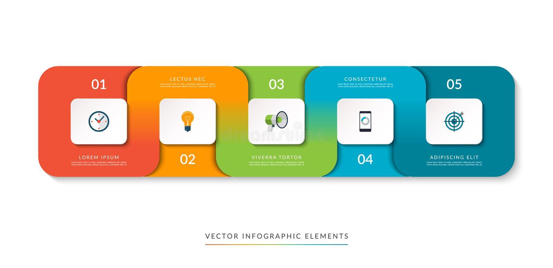 Molde de Infographic de 5 porções conectadas ilustração do vetor