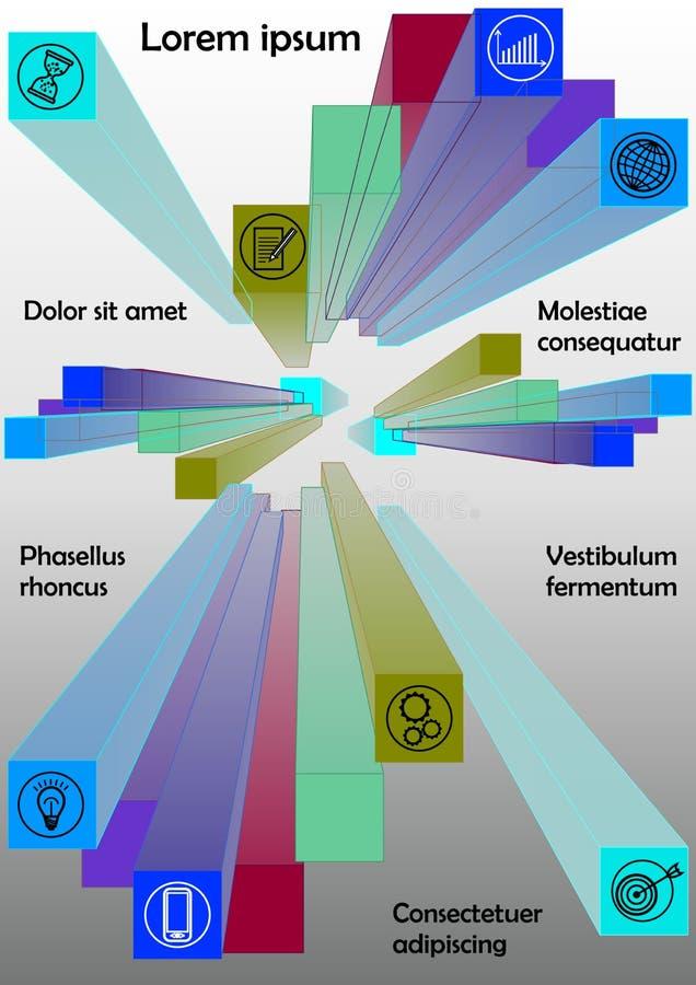 Molde de Infographics com grupo de prismas coloridos, ícones do negócio, gráficos no inclinação cinzento e branco, ilustração do vetor