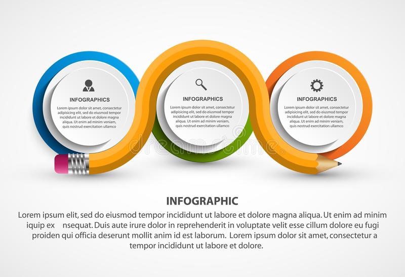 Molde de Infographics com lápis Infographics para a bandeira das apresentações ou da informação do negócio ilustração stock