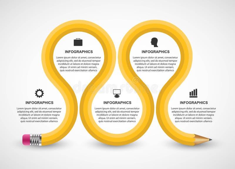 Molde de Infographics com lápis Infographics para a bandeira das apresentações ou da informação do negócio ilustração royalty free
