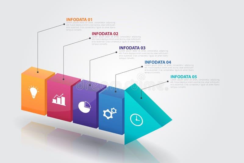 molde de Infographics da seta 3D para o negócio, educação, design web, bandeiras, folhetos, insetos ilustração royalty free