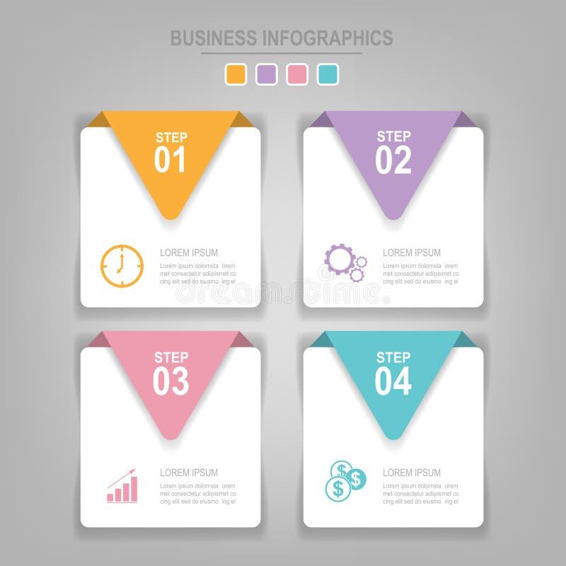 Molde de Infographics de quatro etapas em quadrados imagens de stock