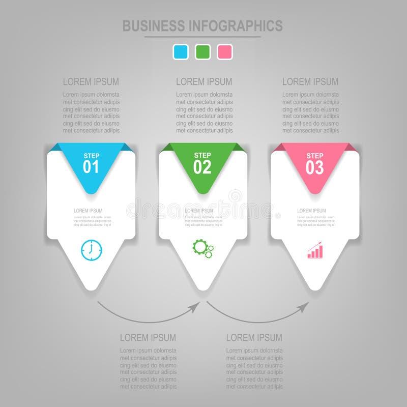 Molde de Infographics de três etapas em quadrados fotografia de stock