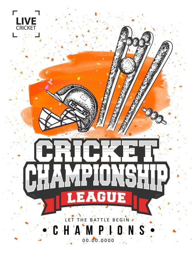 Molde de Live Cricket Championship League ou projeto do inseto com ilustração da garatuja do equipamento de grilo ilustração stock
