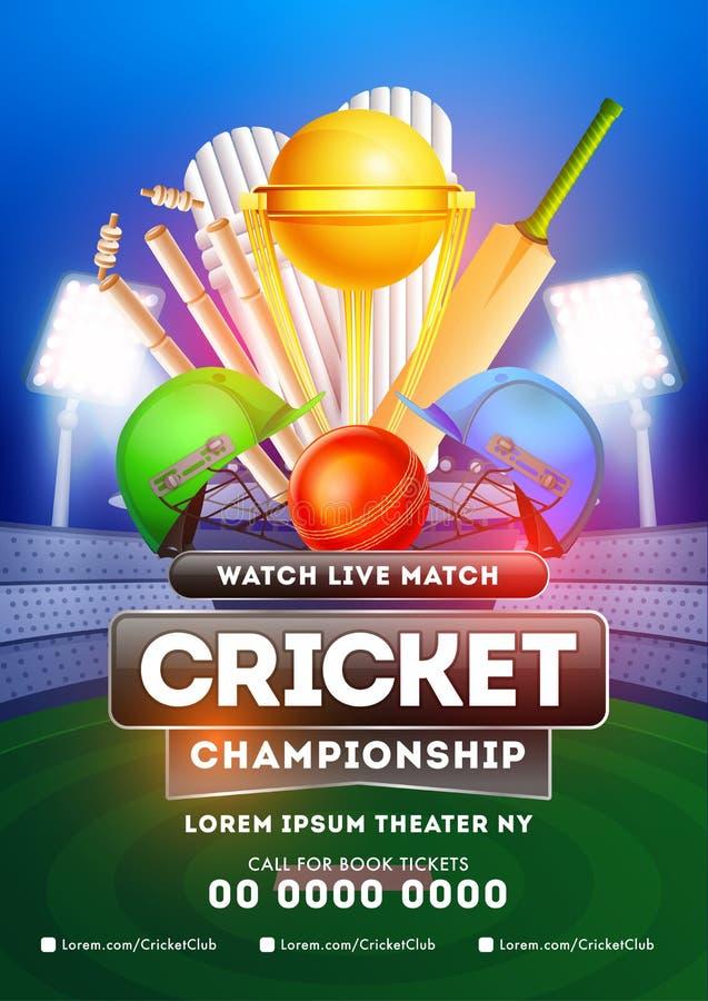 Molde de Live Cricket Championship ou projeto com detalhes, harmonia do inseto entre a equipe dois ilustração stock