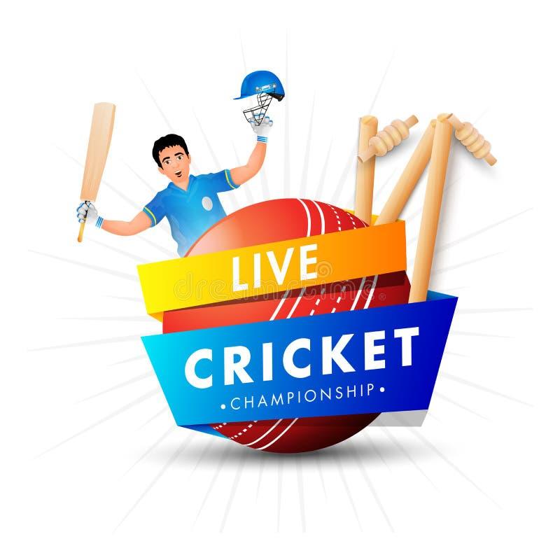 Molde de Live Cricket Championship ou projeto do cartaz ilustração royalty free