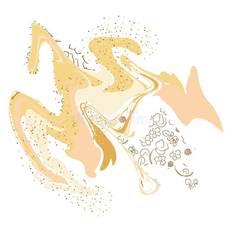 Molde de mármore abstrato da arte Ouro e projeto de cartão branco ilustração royalty free