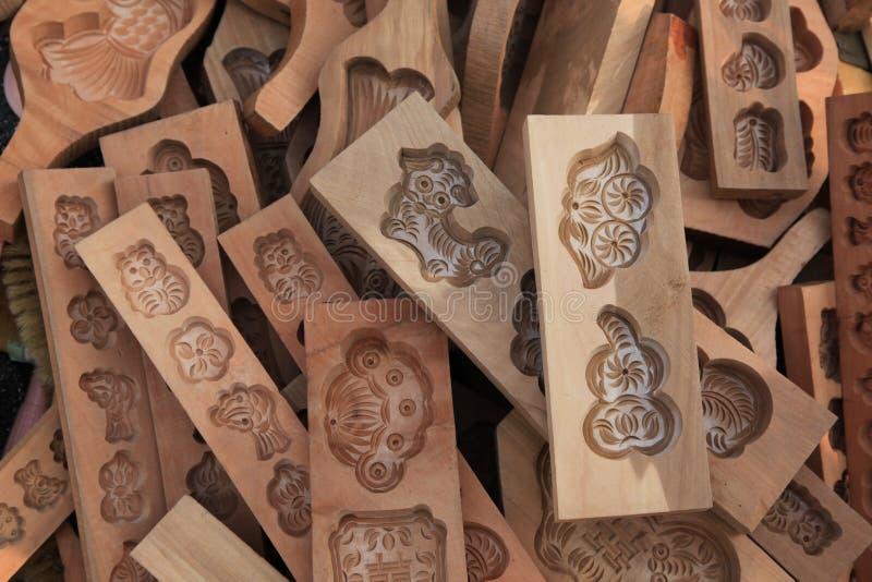 Molde de madera tratado con vapor chino del pan foto de archivo
