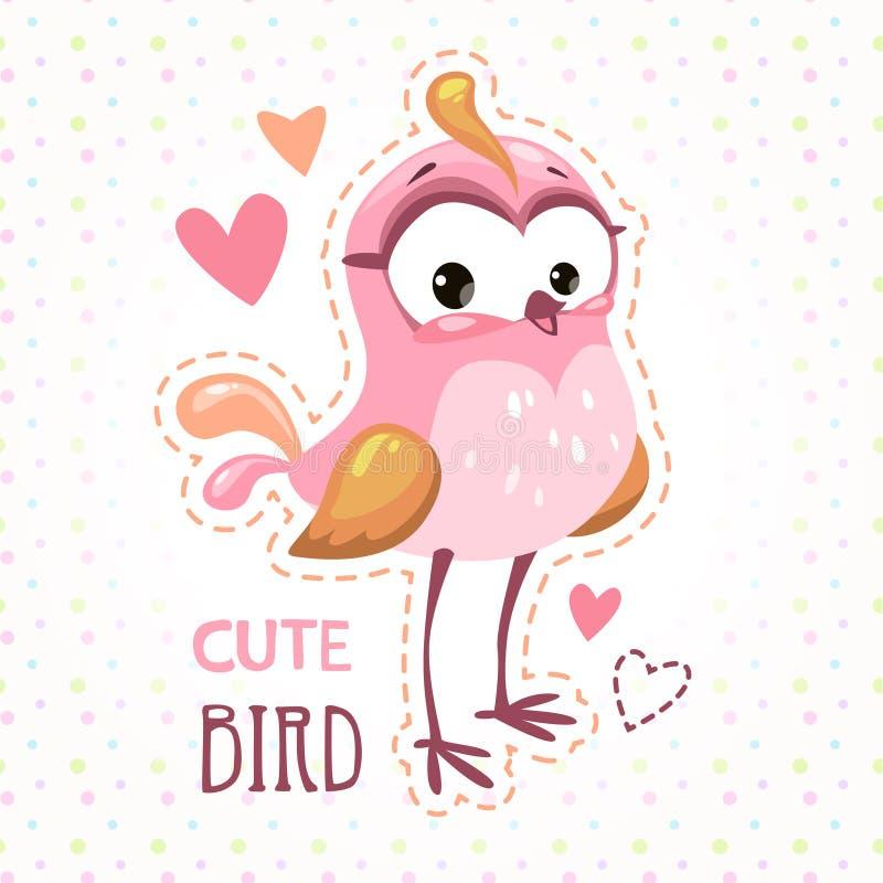 Molde de menina bonito da cópia da camisa de t com pássaro ilustração royalty free