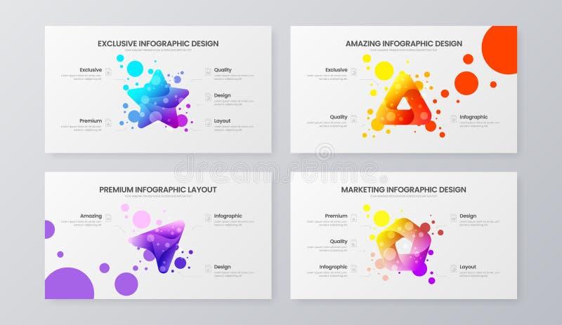 Molde de mercado da ilustração do vetor da analítica Grupo da disposição de projeto dos dados comerciais Pacote infographic do re ilustração royalty free