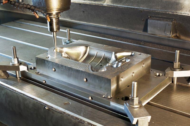 Molde de metal industrial/el moler en blanco Tecnología del CNC fotografía de archivo